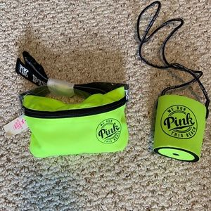 VS Pink We Run This Beach Fanny Pack & Coozie Set